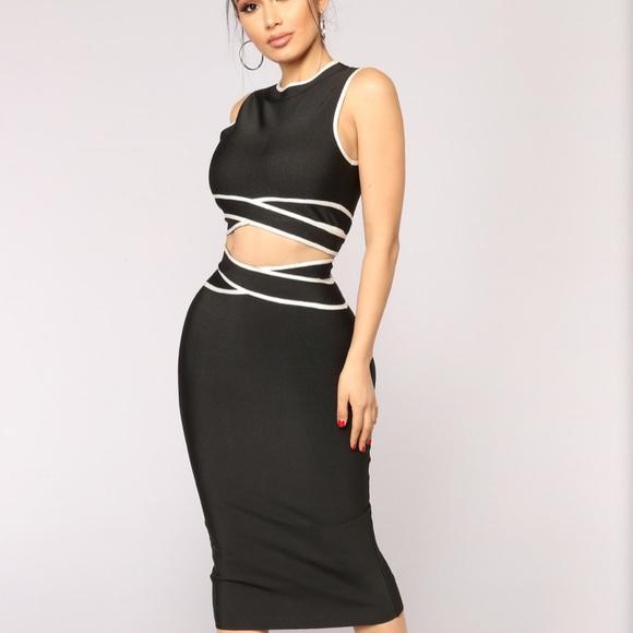 Black & white skirt set